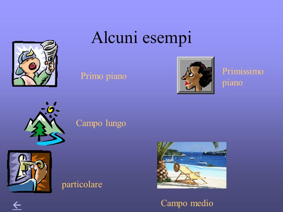 Alcuni esempi Primissimo piano Primo piano Campo lungo particolare