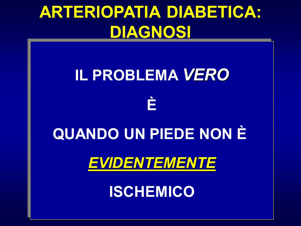 ARTERIOPATIA DIABETICA: DIAGNOSI