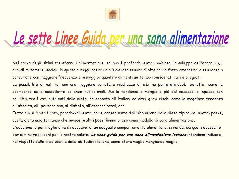 Le sette Linee Guida per una sana alimentazione