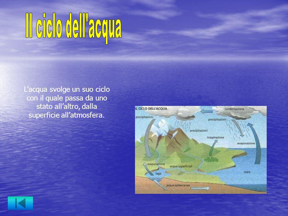 Il ciclo dell acqua L'acqua svolge un suo ciclo con il quale passa da uno stato all'altro, dalla superficie all'atmosfera.