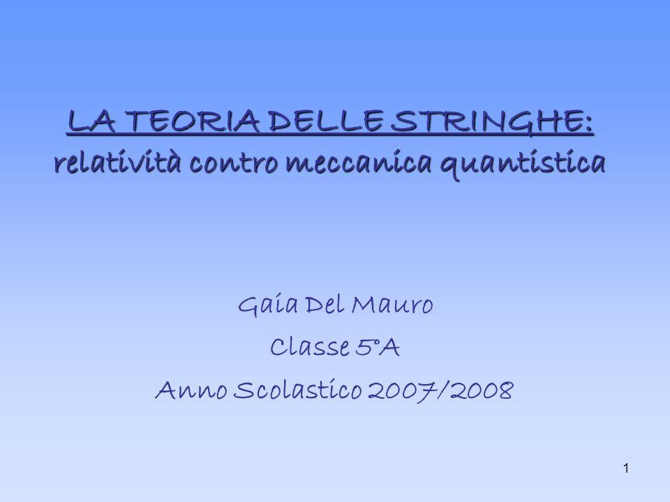 LA TEORIA DELLE STRINGHE: relatività contro meccanica quantistica