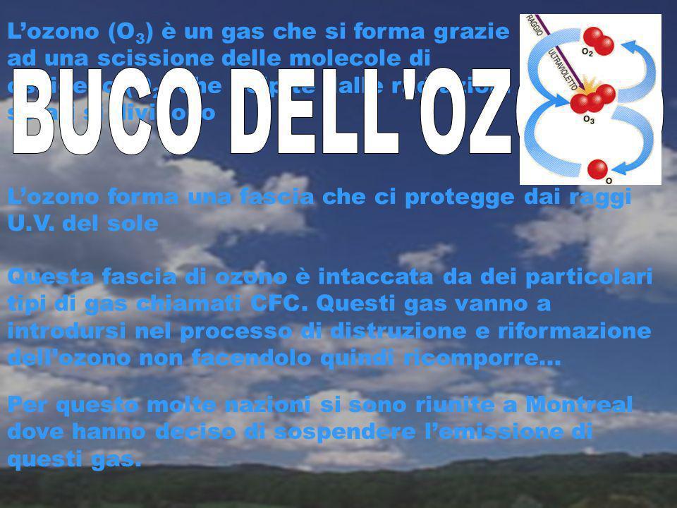L'ozono (O3) è un gas che si forma grazie ad una scissione delle molecole di ossigeno (O2) che colpite dalle radiazioni solari si dividono