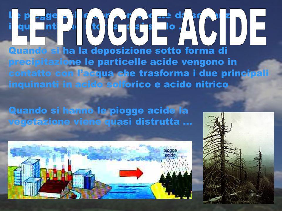 Le piogge acide sono provocate da sostanze inquinanti che ritornano al suolo …