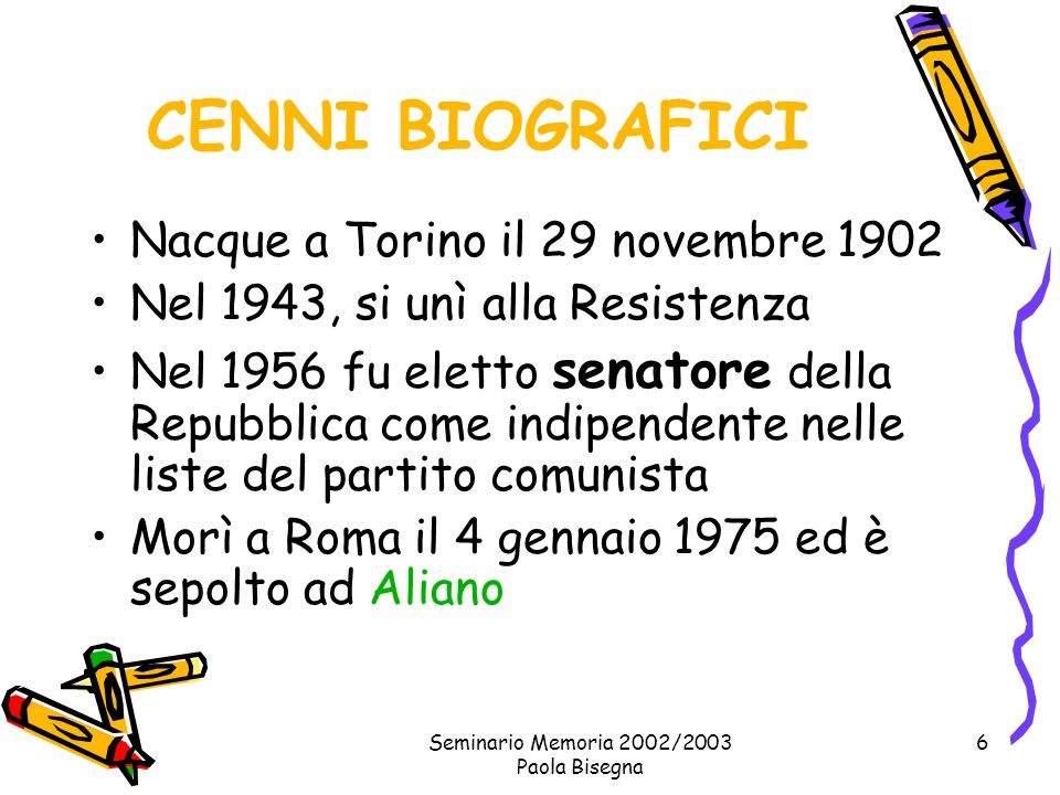 Seminario Memoria 2002/2003 Paola Bisegna