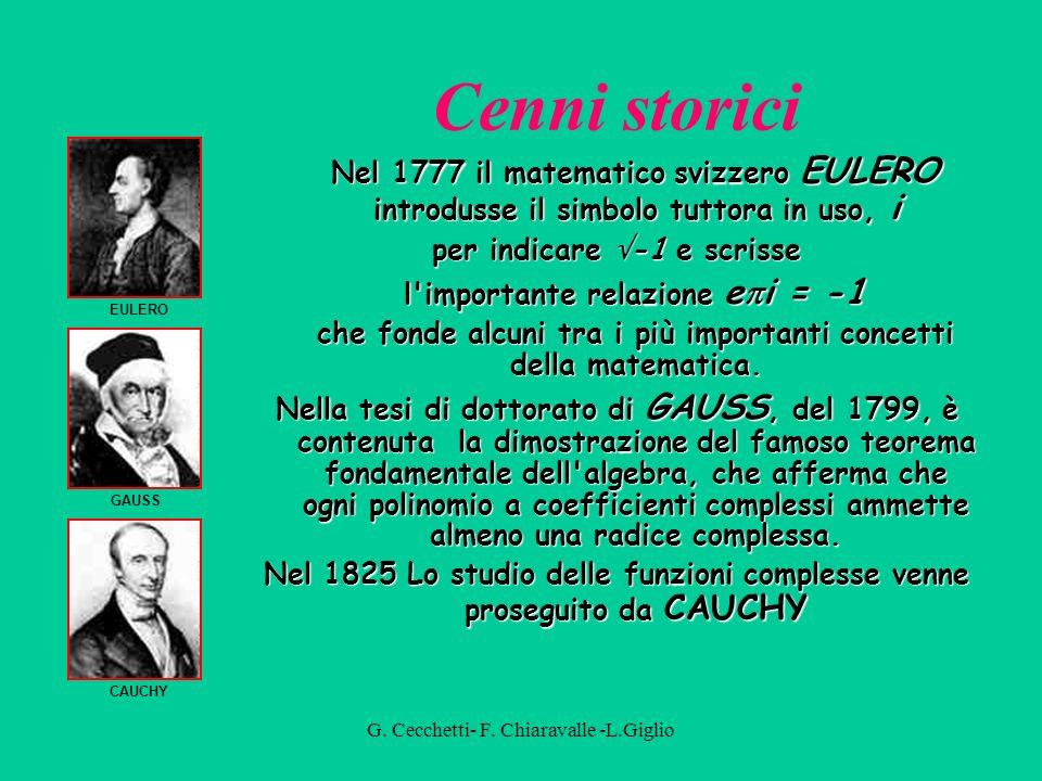 Cenni storici Nel 1777 il matematico svizzero EULERO introdusse il simbolo tuttora in uso, i. per indicare -1 e scrisse.