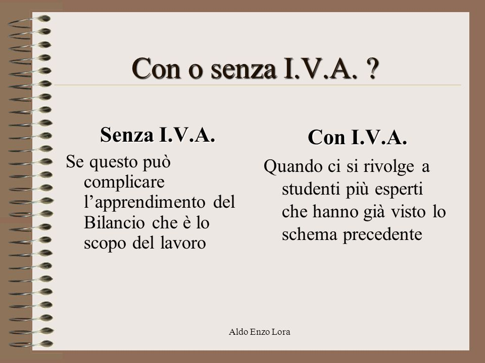 Con o senza I.V.A. Senza I.V.A. Con I.V.A.