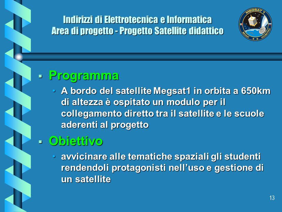 Indirizzi di Elettrotecnica e Informatica Area di progetto - Progetto Satellite didattico