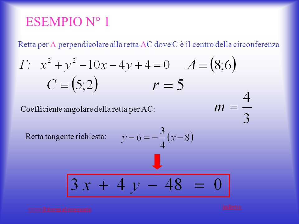ESEMPIO N° 1 Retta per A perpendicolare alla retta AC dove C è il centro della circonferenza. Coefficiente angolare della retta per AC: