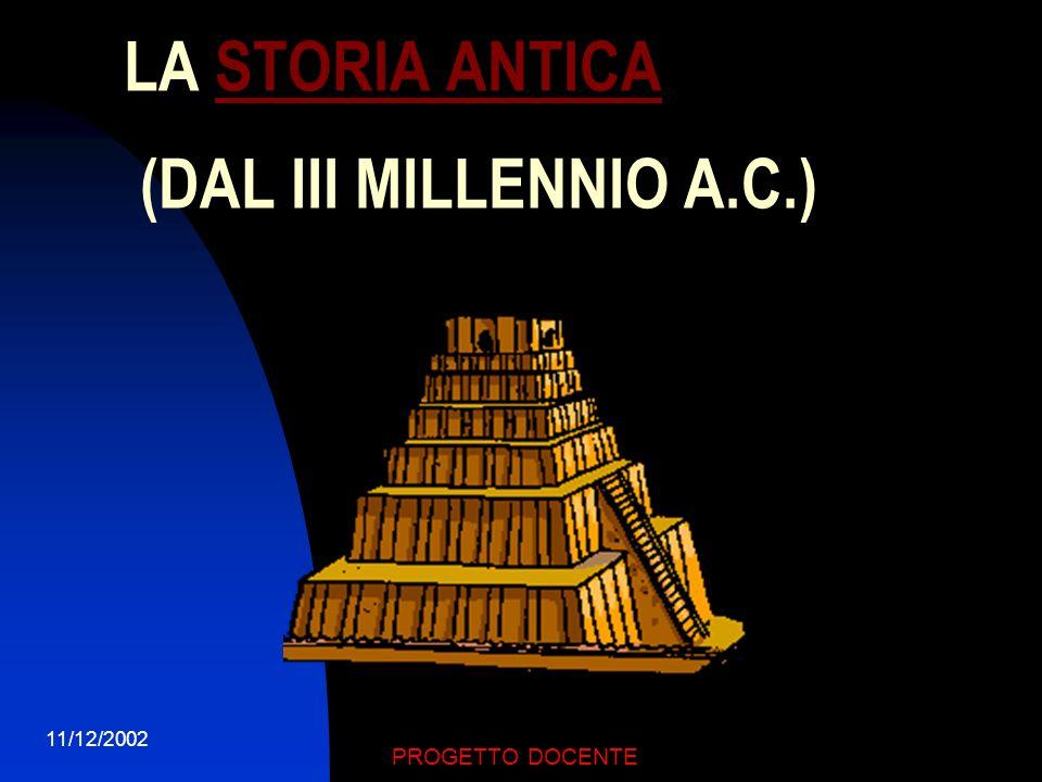 LA STORIA ANTICA (DAL III MILLENNIO A.C.)