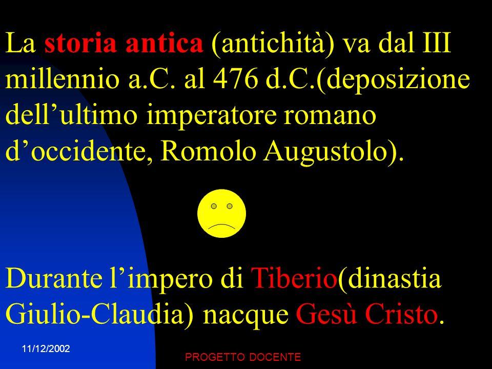 La storia antica (antichità) va dal III millennio a. C. al 476 d. C