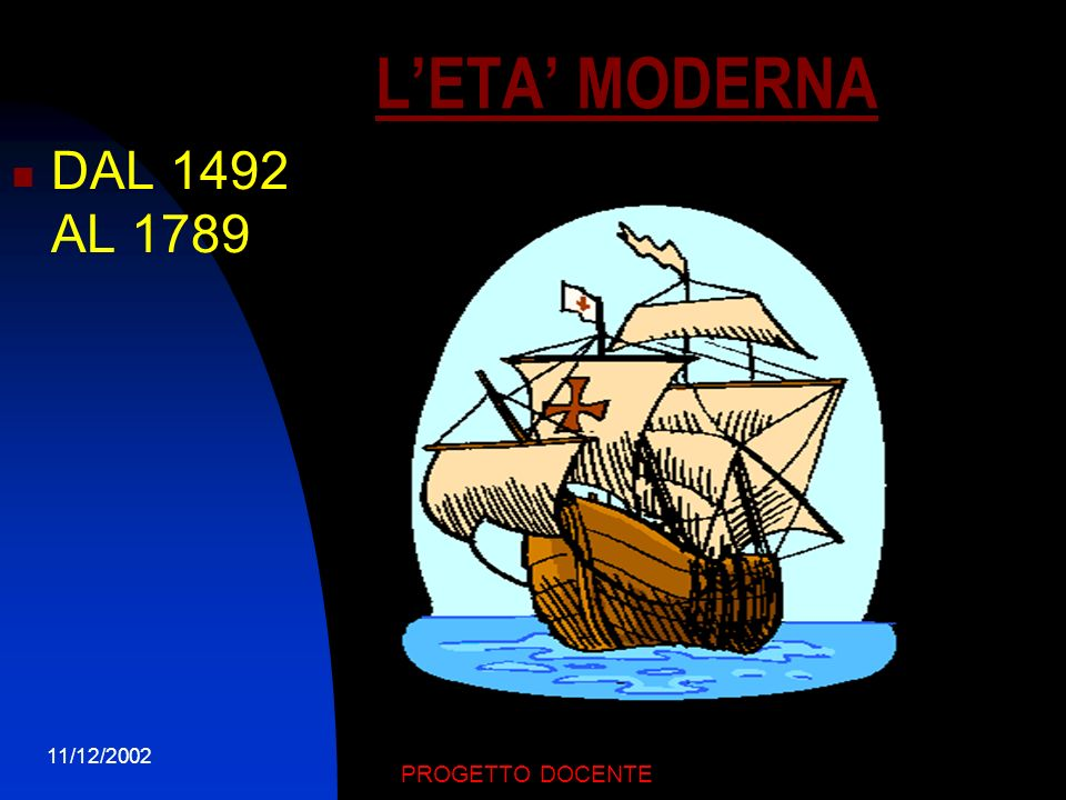 L'ETA' MODERNA DAL 1492 AL 1789 11/12/2002