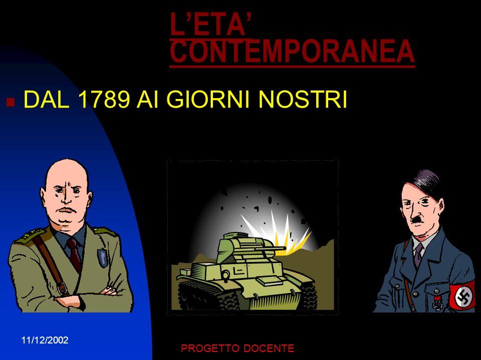 L'ETA' CONTEMPORANEA DAL 1789 AI GIORNI NOSTRI 11/12/2002