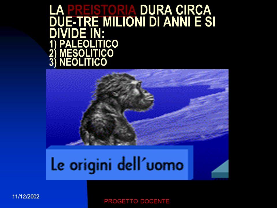 LA PREISTORIA DURA CIRCA DUE-TRE MILIONI DI ANNI E SI DIVIDE IN: 1) PALEOLITICO 2) MESOLITICO 3) NEOLITICO