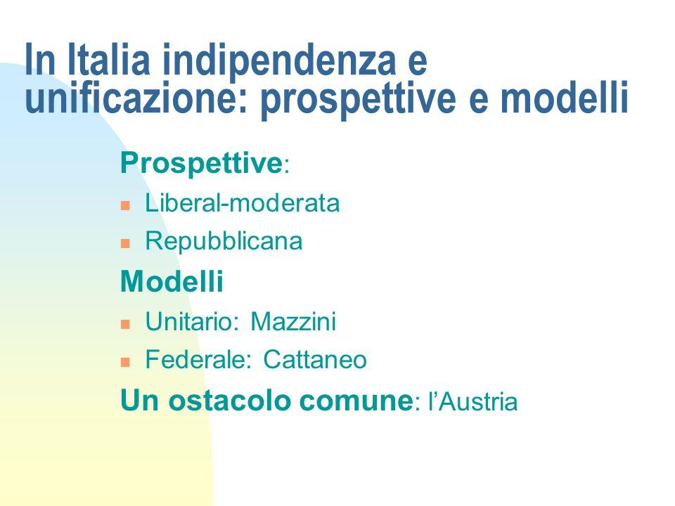 In Italia indipendenza e unificazione: prospettive e modelli