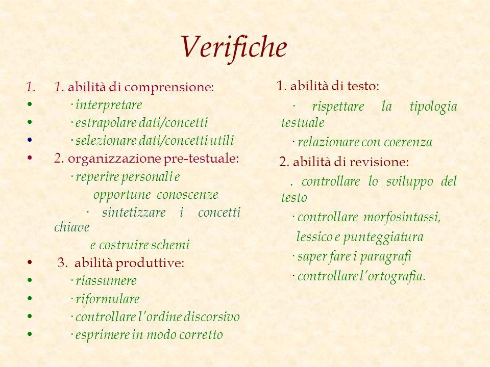 Verifiche 1. abilità di testo: 1. abilità di comprensione: