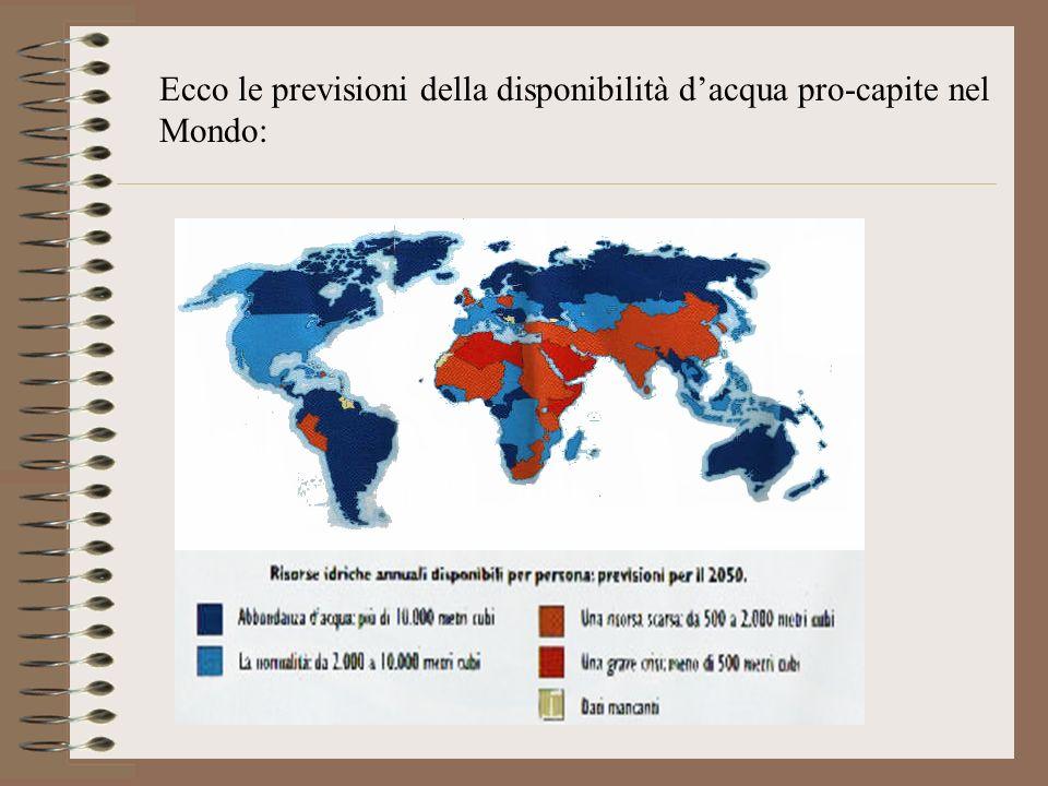 Ecco le previsioni della disponibilità d'acqua pro-capite nel Mondo:
