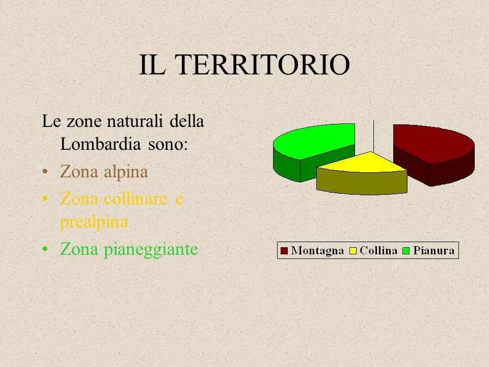 IL TERRITORIO Le zone naturali della Lombardia sono: Zona alpina
