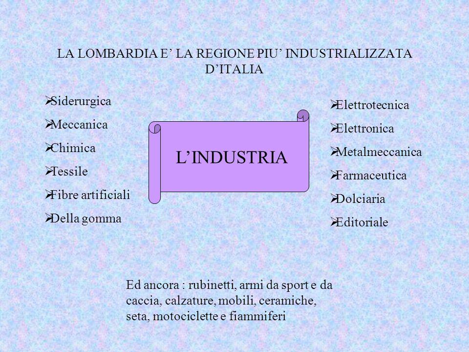 LA LOMBARDIA E' LA REGIONE PIU' INDUSTRIALIZZATA D'ITALIA