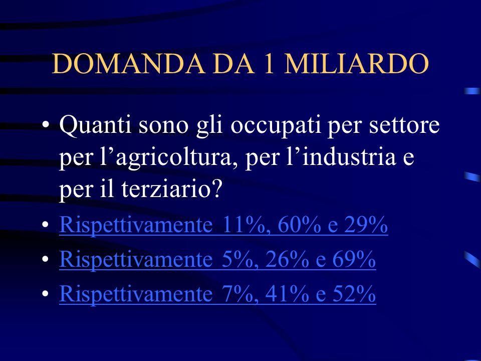 DOMANDA DA 1 MILIARDO Quanti sono gli occupati per settore per l'agricoltura, per l'industria e per il terziario