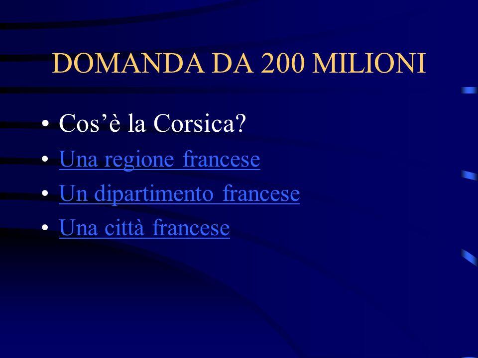 DOMANDA DA 200 MILIONI Cos'è la Corsica Una regione francese
