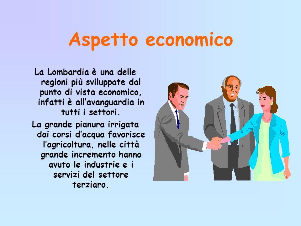 Aspetto economico La Lombardia è una delle regioni più sviluppate dal punto di vista economico, infatti è all'avanguardia in tutti i settori.