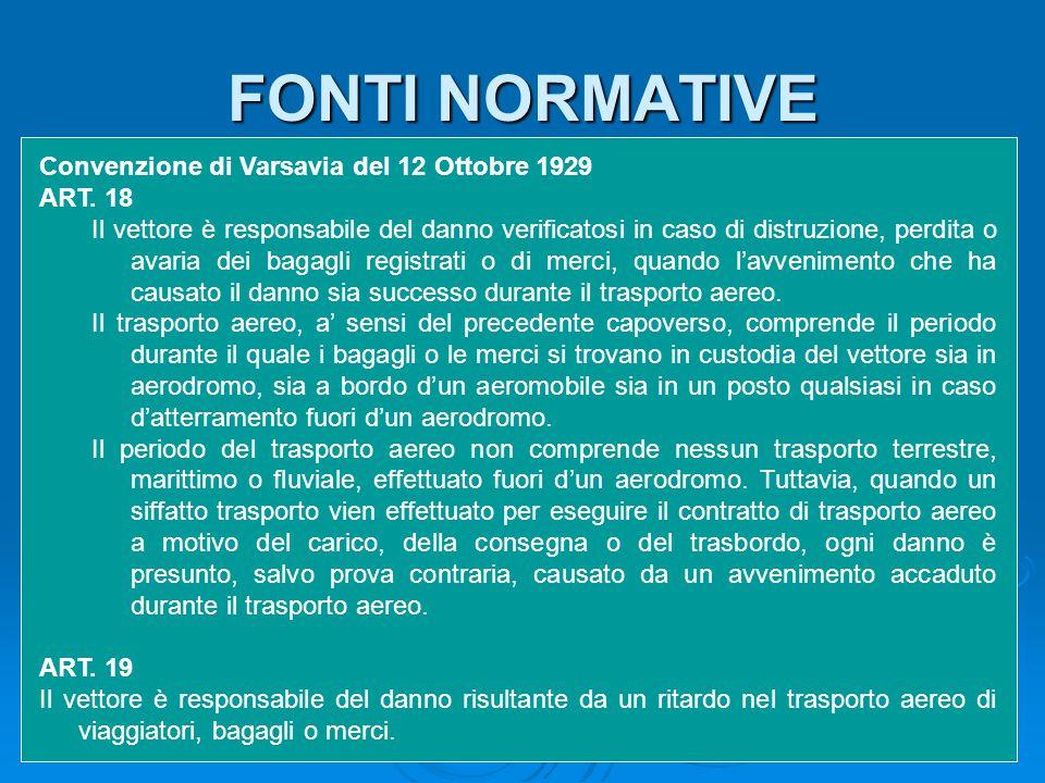 FONTI NORMATIVE Convenzione di Varsavia del 12 Ottobre 1929 ART. 18