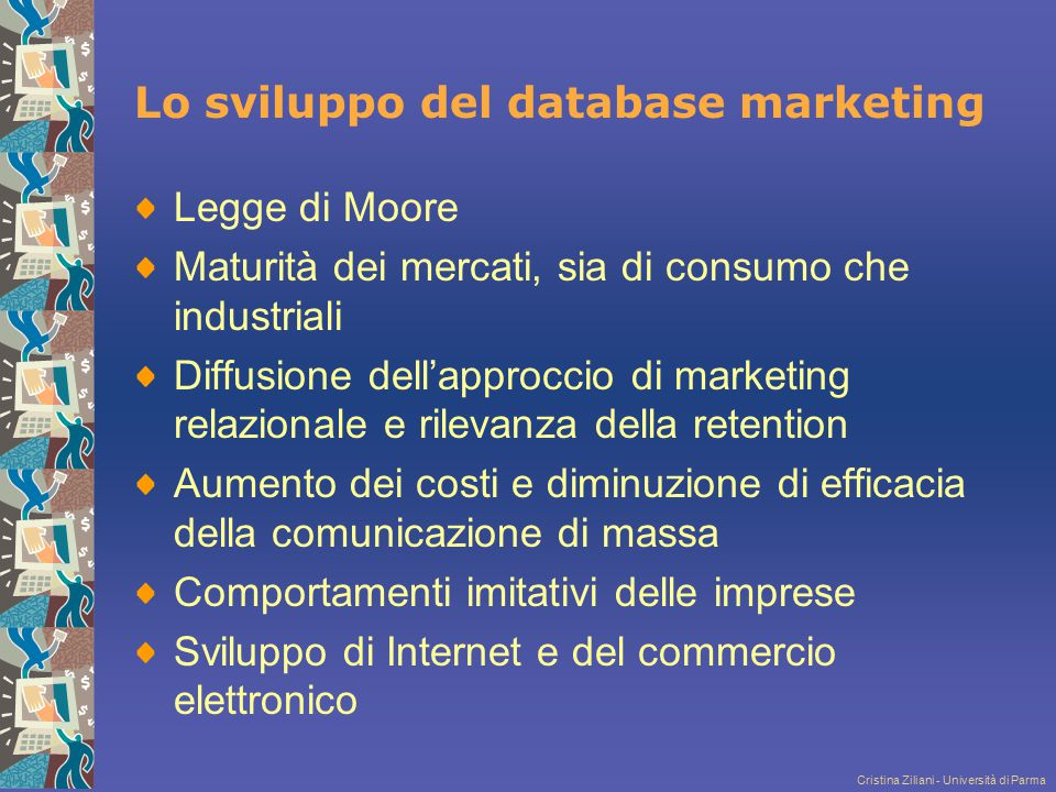 Lo sviluppo del database marketing