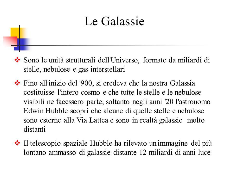 Le GalassieSono le unità strutturali dell Universo, formate da miliardi di stelle, nebulose e gas interstellari.