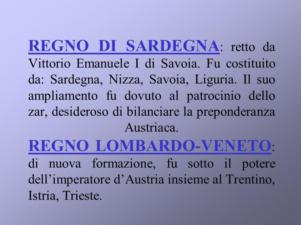 REGNO DI SARDEGNA: retto da Vittorio Emanuele I di Savoia