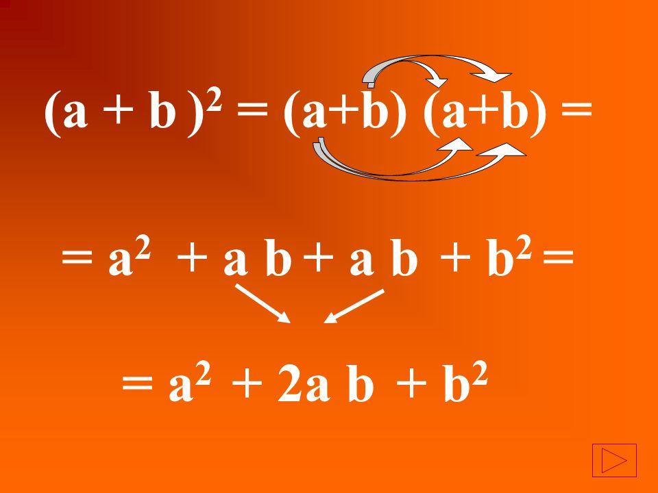 (a + b )2 = (a+b) (a+b) = = a2 + a b + a b + b2 = = a2 + 2a b + b2