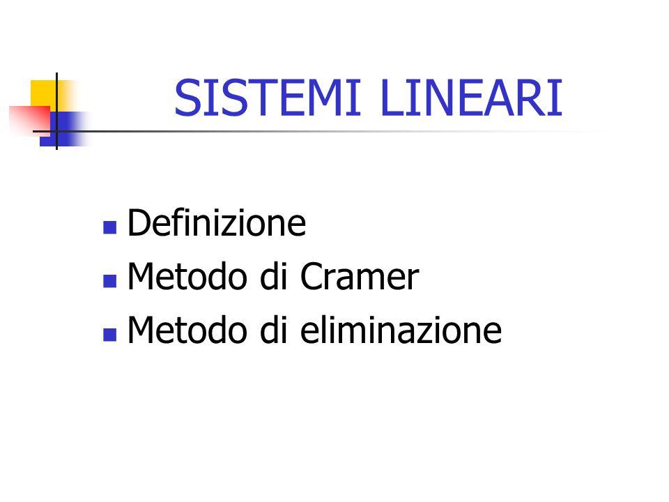 SISTEMI LINEARI Definizione Metodo di Cramer Metodo di eliminazione