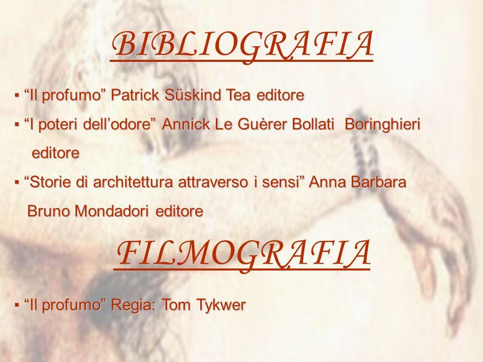 BIBLIOGRAFIA FILMOGRAFIA ▪ Il profumo Patrick Süskind Tea editore