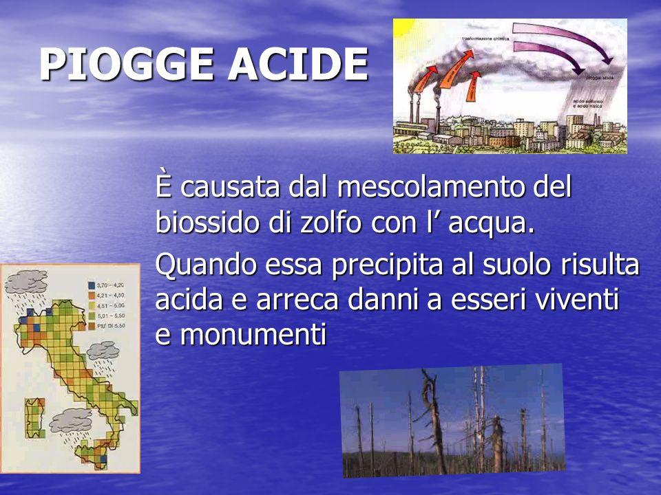 PIOGGE ACIDE È causata dal mescolamento del biossido di zolfo con l' acqua.