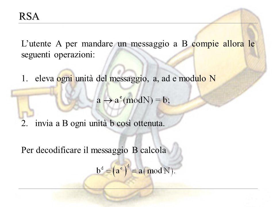 RSA L'utente A per mandare un messaggio a B compie allora le seguenti operazioni: eleva ogni unità del messaggio, a, ad e modulo N.