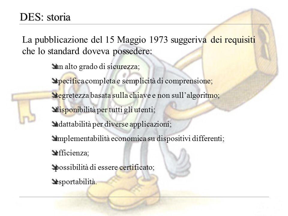DES: storia La pubblicazione del 15 Maggio 1973 suggeriva dei requisiti che lo standard doveva possedere: