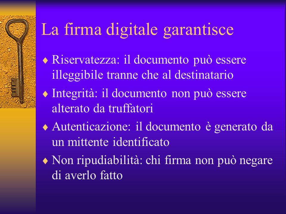 La firma digitale garantisce