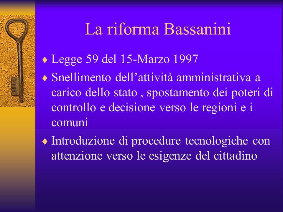 La riforma Bassanini Legge 59 del 15-Marzo 1997