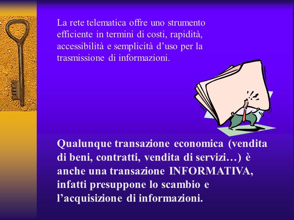 La rete telematica offre uno strumento efficiente in termini di costi, rapidità, accessibilità e semplicità d'uso per la trasmissione di informazioni.