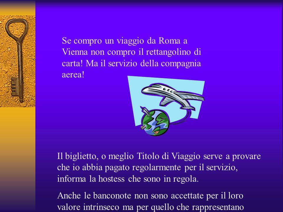 Se compro un viaggio da Roma a Vienna non compro il rettangolino di carta! Ma il servizio della compagnia aerea!