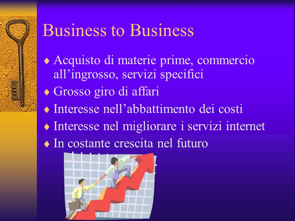 Business to Business Acquisto di materie prime, commercio all'ingrosso, servizi specifici. Grosso giro di affari.