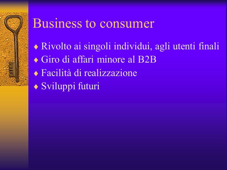 Business to consumer Rivolto ai singoli individui, agli utenti finali