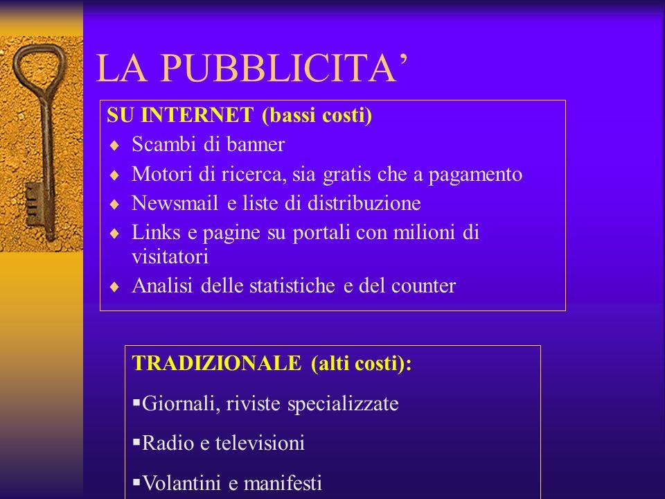 LA PUBBLICITA' SU INTERNET (bassi costi) Scambi di banner