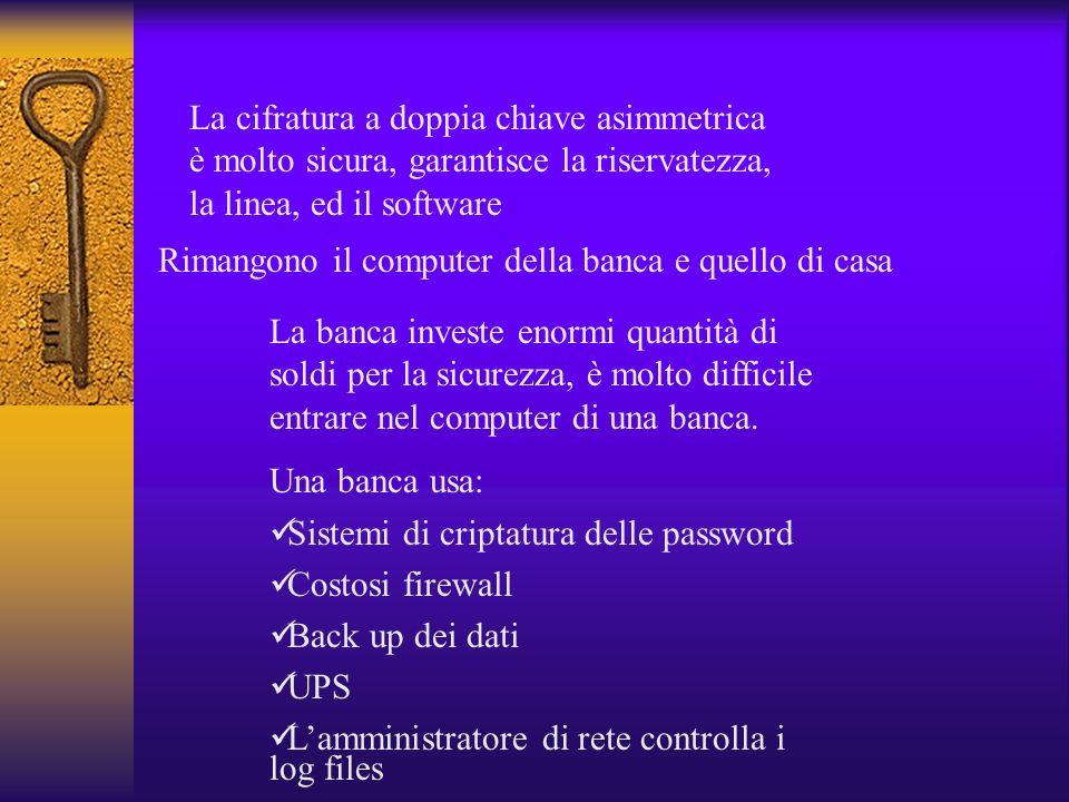 La cifratura a doppia chiave asimmetrica è molto sicura, garantisce la riservatezza, la linea, ed il software