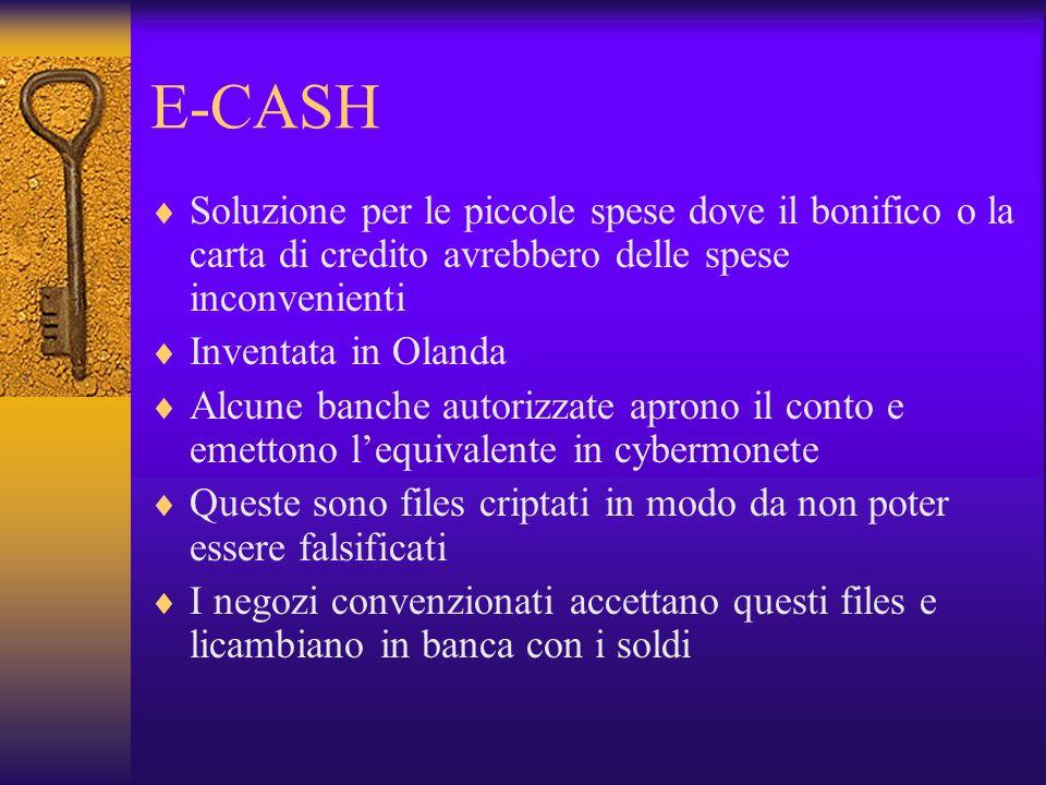 E-CASH Soluzione per le piccole spese dove il bonifico o la carta di credito avrebbero delle spese inconvenienti.