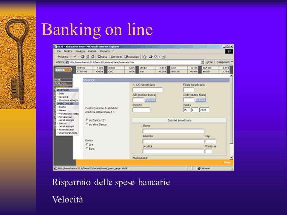 Banking on line Risparmio delle spese bancarie Velocità