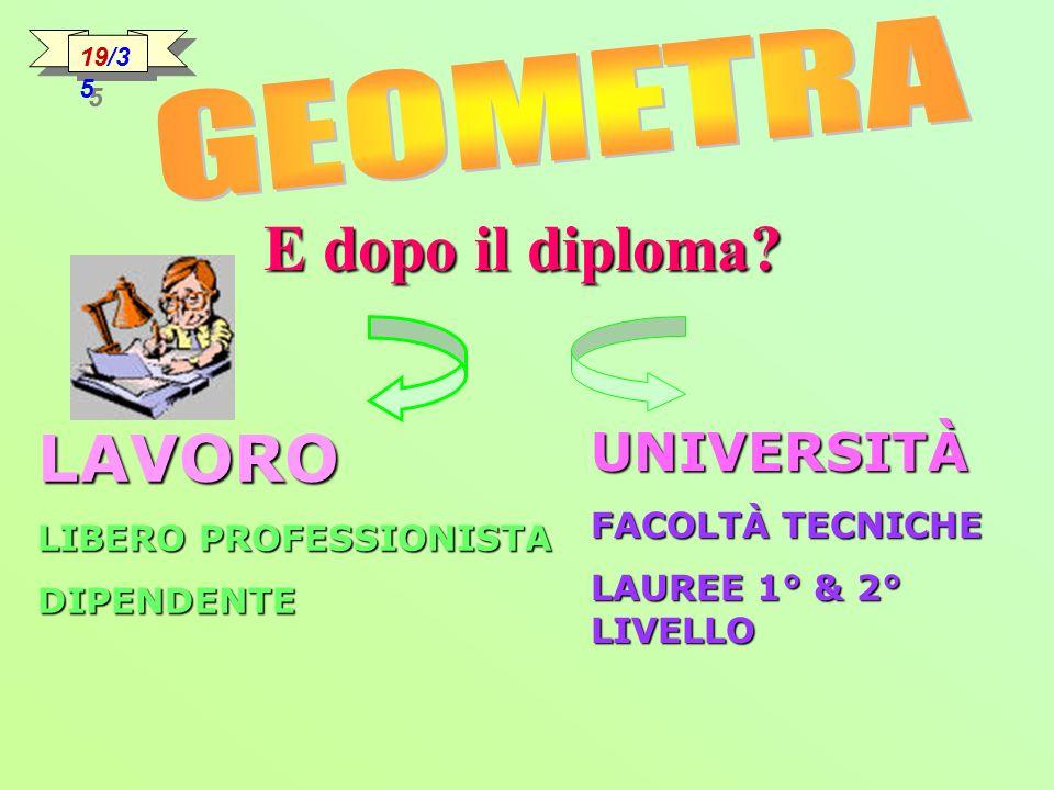 E dopo il diploma LAVORO GEOMETRA UNIVERSITÀ FACOLTÀ TECNICHE