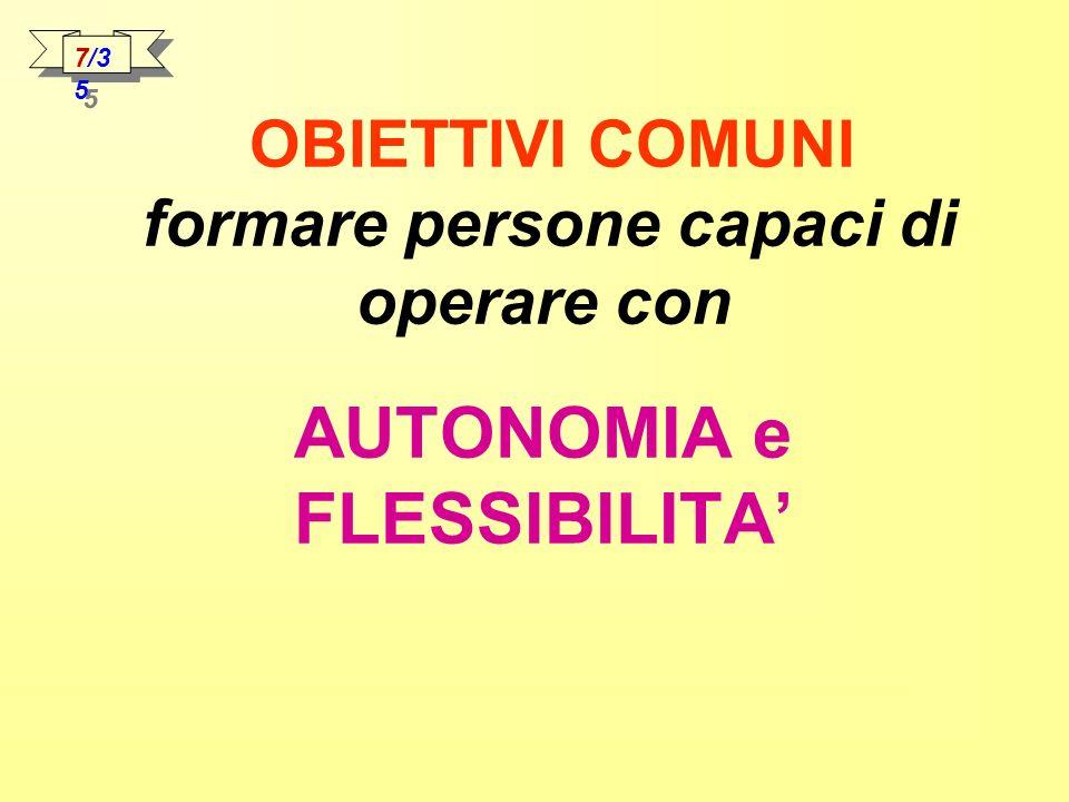 7/35 OBIETTIVI COMUNI formare persone capaci di operare con AUTONOMIA e FLESSIBILITA'
