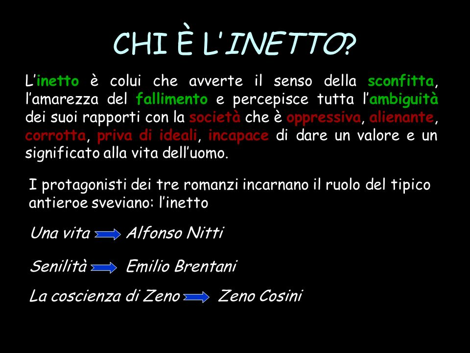 CHI È L'INETTO Una vita Alfonso Nitti Senilità Emilio Brentani