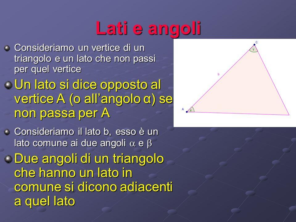 Lati e angoliConsideriamo un vertice di un triangolo e un lato che non passi per quel vertice.