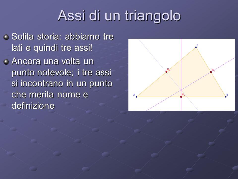 Assi di un triangolo Solita storia: abbiamo tre lati e quindi tre assi!